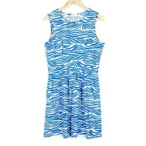 Jude Connally Blue White Zebra Sleeveless Dress
